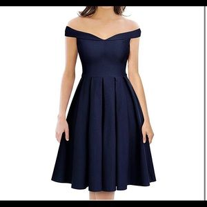 Navy blue knee length cocktail bridesmaid dress